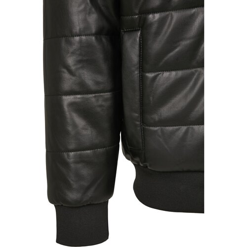 Urban Classics Hooded Faux Leather Bubble Jacket